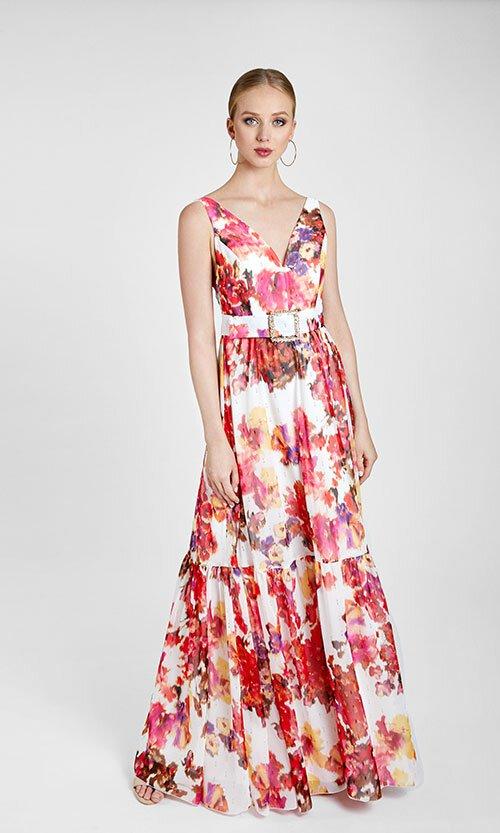 Vestido de Cerimónia Padrão Floral